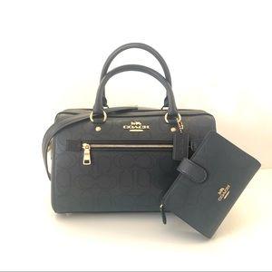 Coach Rowan Satchel Blue Leather Purse Wallet Set